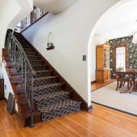 Staircase to second floor, Tudor, Entry Way, Full Stairs, HardWood, Bold Wallpaper | Renovation Design Group
