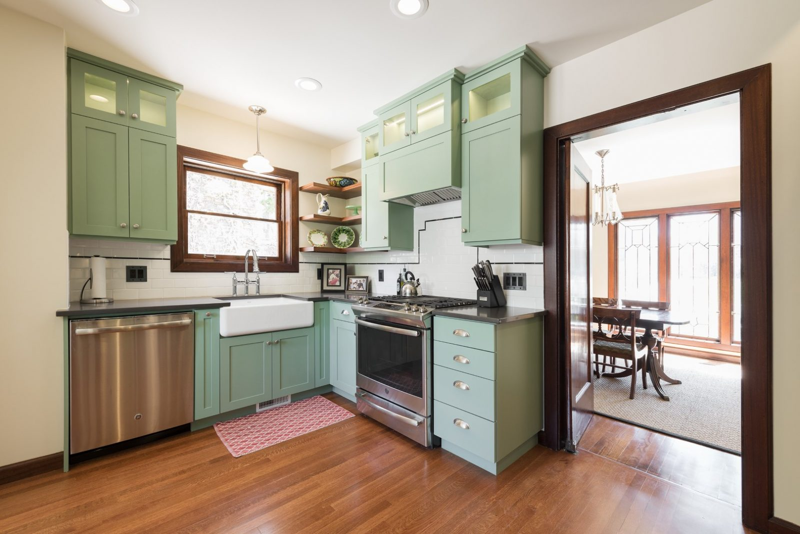 Kitchen, Colorful Cabinets, Updated, Stainless, Tudor | Renovation Design Group