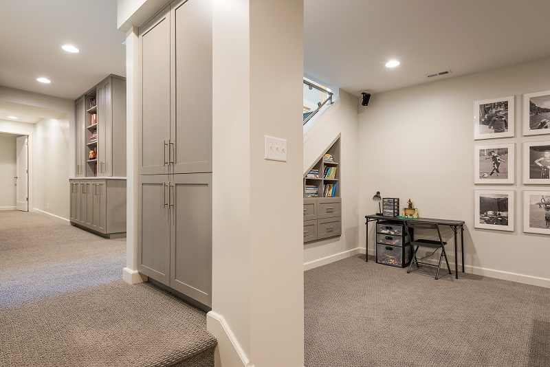 After_Interior_Basement Excavations_Basement Playrooms_Basement Game Room_Office | Renovation Design Group