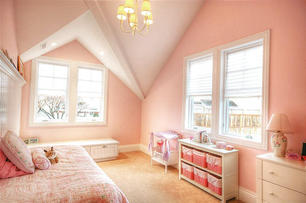 In Child's Room, focus on lighting, shelving, and the bed