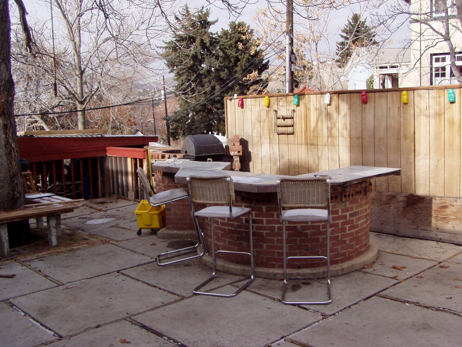 Before Back PAtio Renovated Frat House