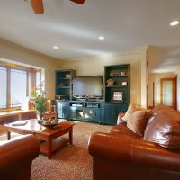 family room with tv and entertainment center