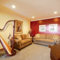 music room with piano and harp music room with piano and harp | Renovation Design Group