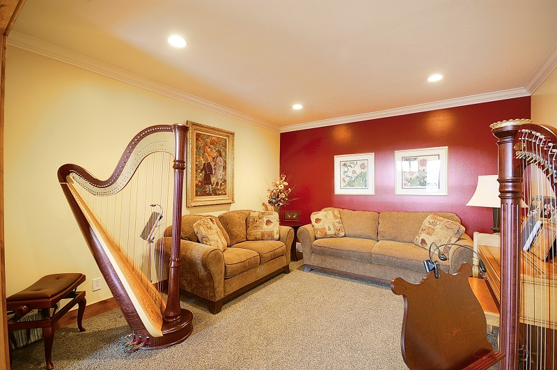 music room with piano and harp