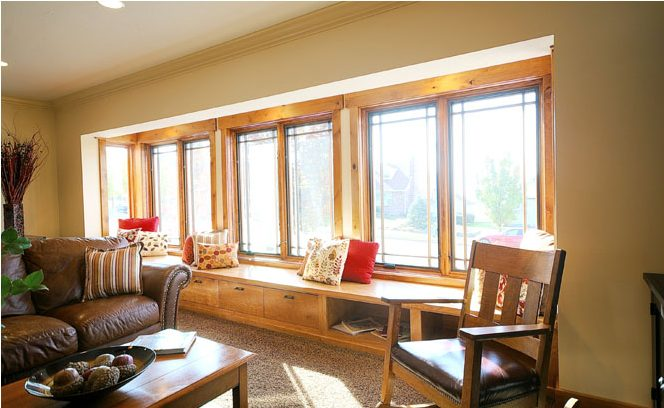 Windows, natural light, seat, wood trim, design