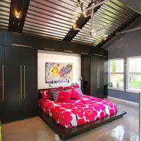 Murphy Bed contemporary bed, casework, galvanized ceiling | Renovation Design Group