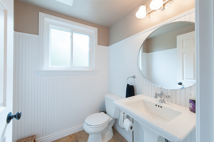 After bathroom in a split level remodel salt lake city utah wainscoting