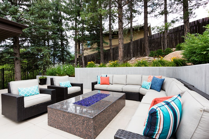 After Exterior, Outside Space, Outside living room, Outdoor Fireplace, Contemporary Patio | Renovation Design Group