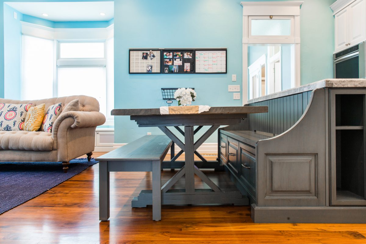 Victorian Kitchen Remodel Custom Table Build Bench Seating | Renovation Design Group