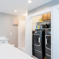 Hidden washer and Dryer Large Mudroom Addition