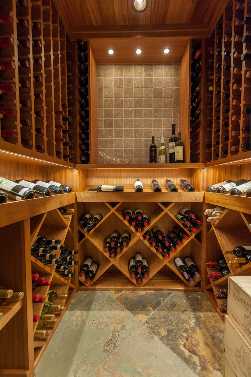 Cottonwood Club Split Level Interior Basement Wine Cellar by Renovation Design Group
