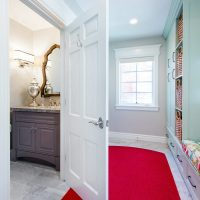 Mudroom with custom dog bed