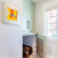 Custom dog kennel in mudroom