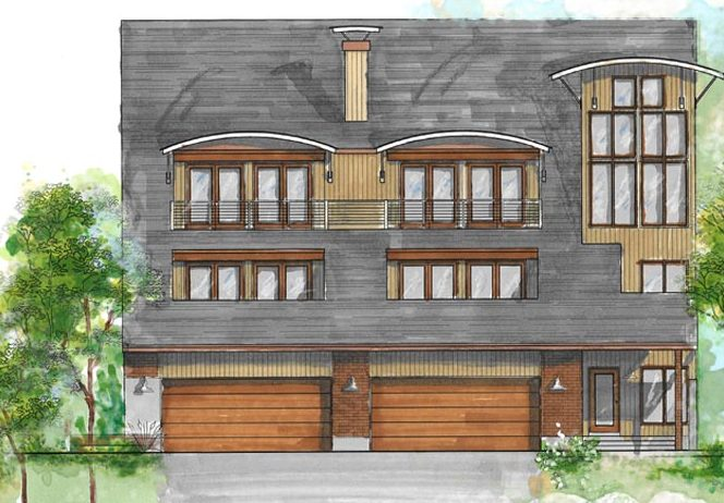 During Construction, Modern Home Remodeling Exterior Update Rendering | Renovation Design group