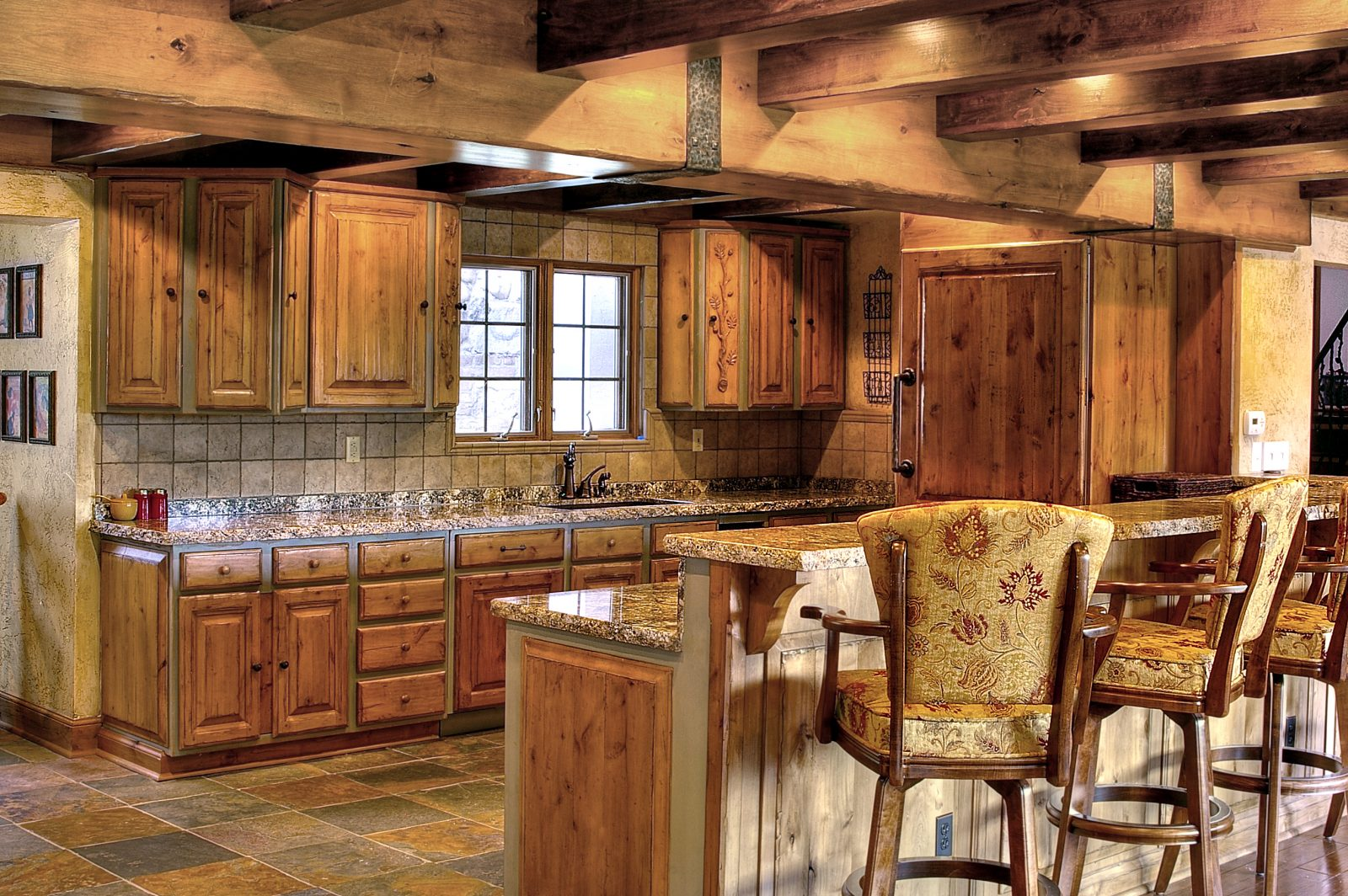 Timber Beam Tuscan Kitchen Designs