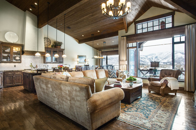 Mountain Home Great Room Refined Rustic Design and Style
