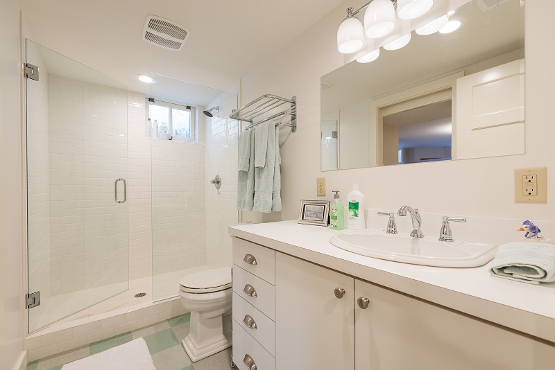 Full Bathroom, Walk in Shower, Checkered Tile Flooring, Tudors | Renovation Design Group