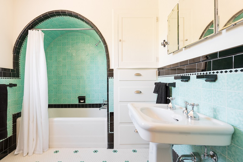 Full Bathroom, Arched Shower, Arches, Design and Arched doorways, Tile Work, Blue antique Tiling | Renovation Design Group