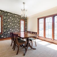 Formal Dining Room, Large Windows, Tudor Windows and Designs, Bold Wallpaper | Renovation Design Group