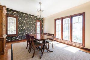Formal Dining Room, Large Windows, Tudor Windows and Designs, Bold Wallpaper | Renovation Design Group