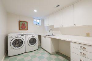 Basement Laundry Rooms, Storage in laundry Room, Tudor, Checkered Tile Flooring | Renovation Design Group