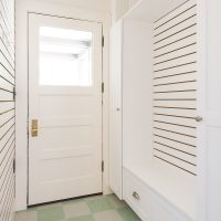 Mudroom, Small Mudroom, Cubbies, Checkered tile flooring, Tudor Home Restoration | Renovation Design Group