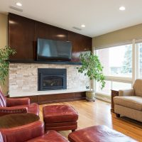 After remodeling the Interior Living Room with Modern Fireplace in a MidCentury Home