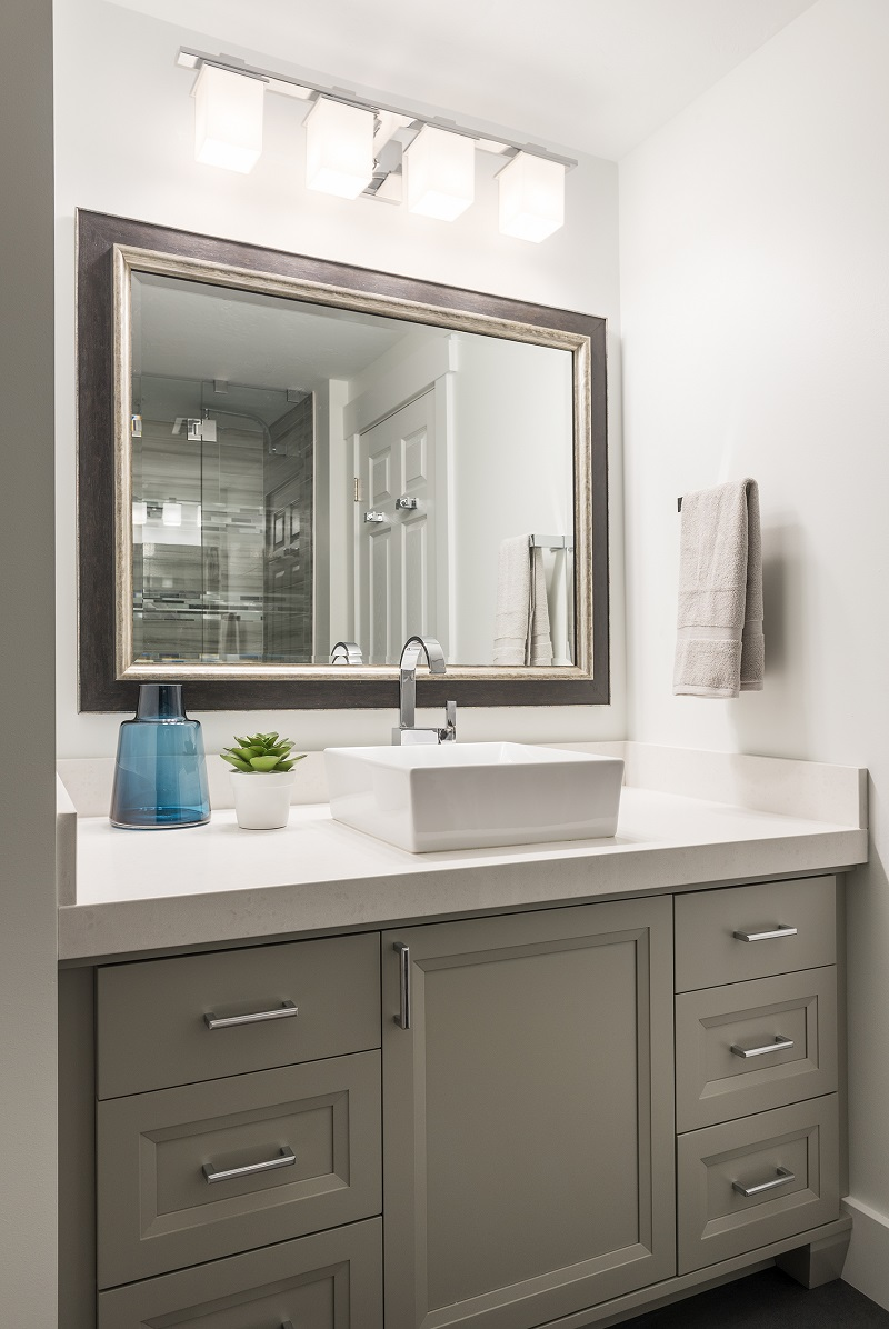 After_Interior_Bathroom_raised sinks_Modern Design_grey vanity_clean design_sleek design| Renovation Design Group