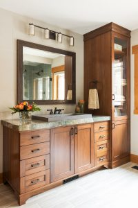 After_Interior_MasterSuite_Master Bath_Modern Design_Modern_Wood in the bathroom_raised sinks_modern bathroom sinks