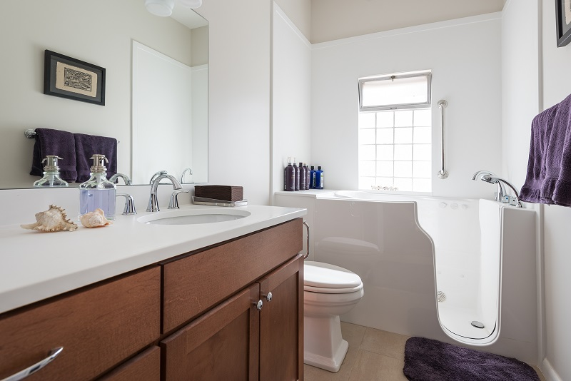 After, Interior, main bathroom, walk in tub, contemporary, Bungalow | Renovation Design Group