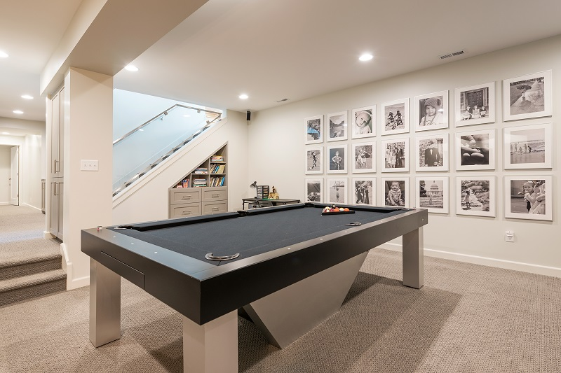 After_Interior_Basement Family Room_Game room_Basement excavation | Renovation Design Group