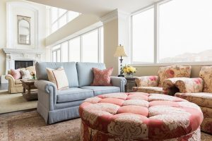 Living Room, Family Room, Great Room, High ceiling, floor to ceiling windows, condos | Renovation Design Group