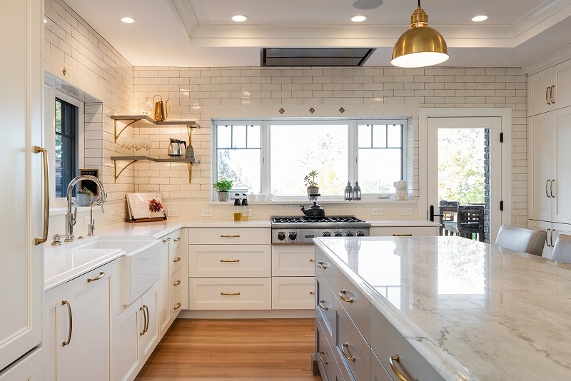 White contemporary kitchen ideas, farm sink, White