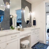After, Interior, Master Bathroom, Steam Shower, Blue Tile, Custom Bathrooms, Master Bathroom Ideas, large Standing shower, Double sinks and vanities | Renovation Design Group