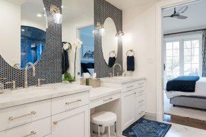 After, Interior, Master Bathroom, Steam Shower, Blue Tile, Custom Bathrooms, Master Bathroom Ideas, large Standing shower, Double sinks and vanities | Renovation Design Group