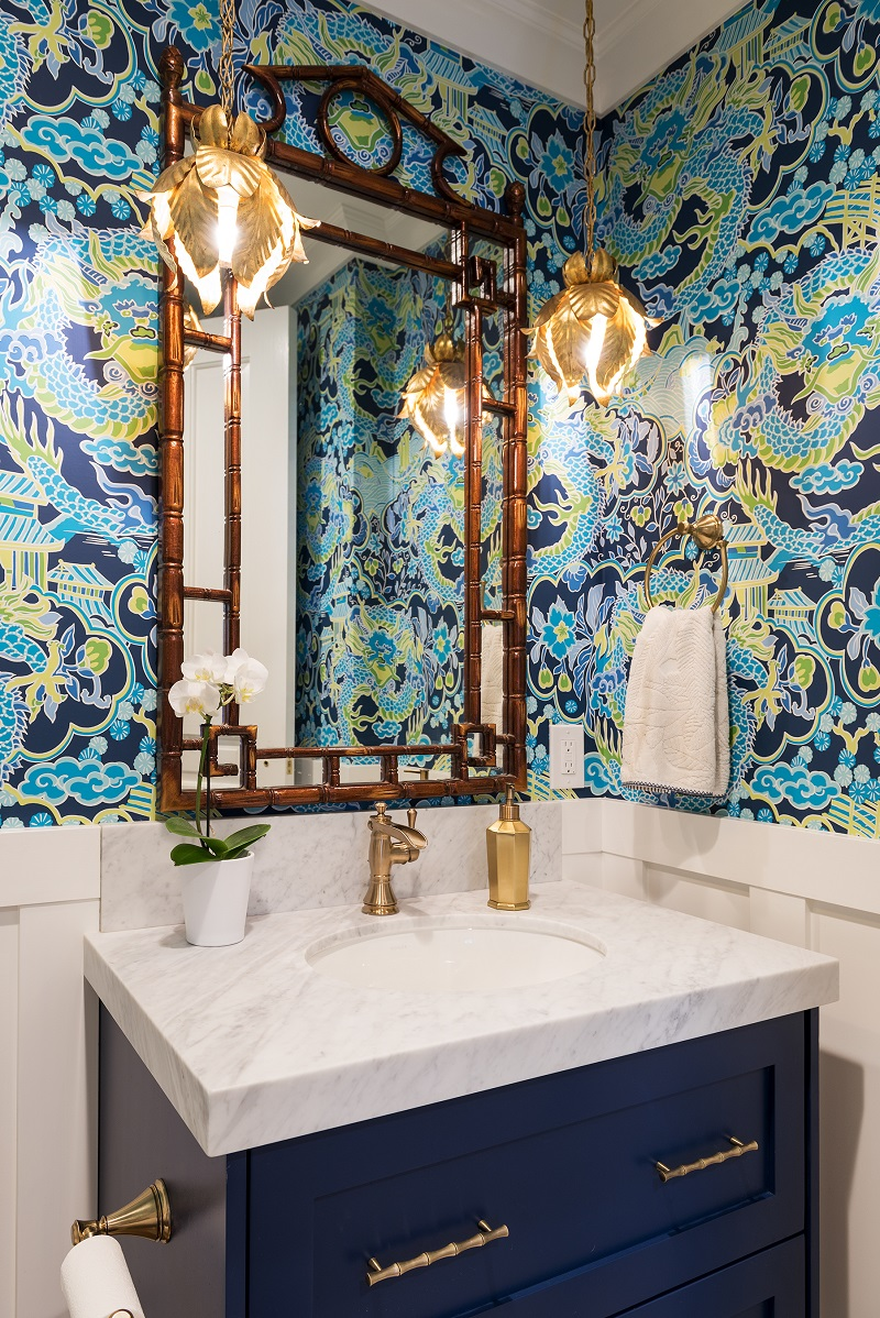 After, Interior, Powder room addition, Master Suite Remodel, Colored wallpaper, vibrant, modern Wall paper, gold leaf fixtures | Renovation Design Group