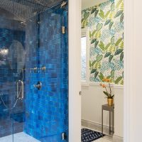 After, Interior, Master Bathroom, Steam Shower, Blue Tile, Custom Bathrooms, Master Bathroom Ideas, large Standing shower | Renovation Design Group