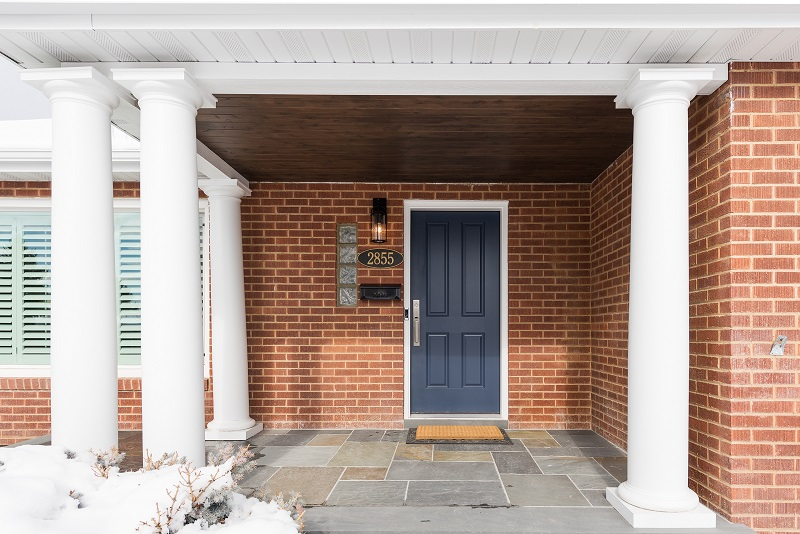 After, exterior, front porch, blue slate, blue front door, Columns | Renovation Design Group
