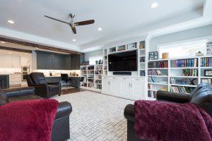 After, Great Room, Built in shelves, Kitchem, Office nook, Open Floor Plan, Modern Fixtures, entertainment center, Rambler | Renovation Design Group