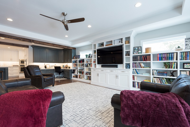 After, Great Room, Built in shelves, Kitchem, Office nook, Open Floor Plan, Modern Fixtures, entertainment center, Rambler | Renovation Design Group
