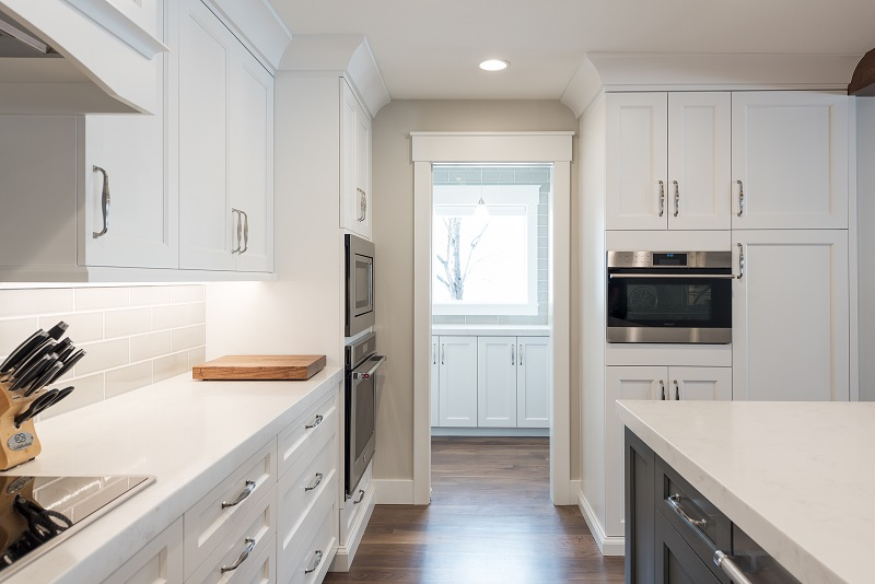 After, Kitchen Great Room, Pantry, Modern, White Cabinets, Built in Ovens, Double oven, Rambler | Renovation Design Group