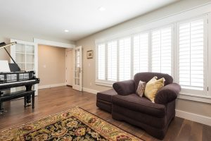 After Living Room remodel, formal living room, Music room,Ranch, Rambler, French Doors, natural Light, Hardwood, Piano | Renovation Design Group Renovation Design Group
