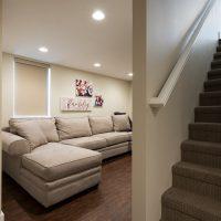 After, Interior, Basement Living Room, Traditional Family Room Design | Renovation Design Group