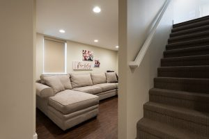 After, Interior, Basement Living Room, Traditional Family Room Design | Renovation Design Group
