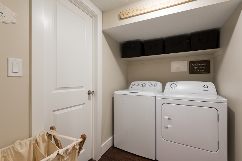 After, Interior, Laundry room remodel, Basement Living space | Renovation Design Group