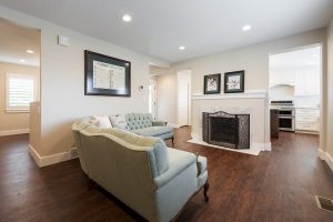 After, Interior, Living room, main living Space, Walls knocked out, kitchen extended | Renovation Design Group