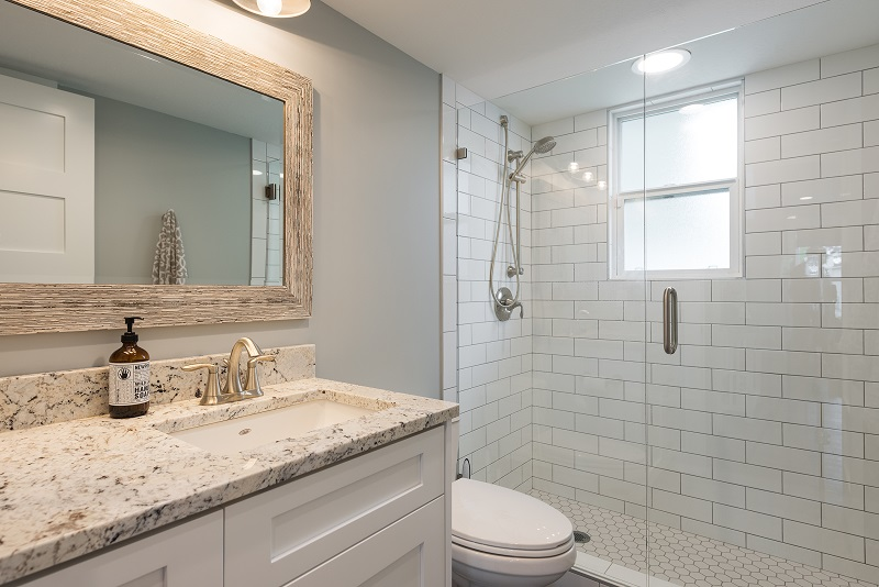 Batrooms, Cape home, deep sink, custom tile | Renovation Design Group