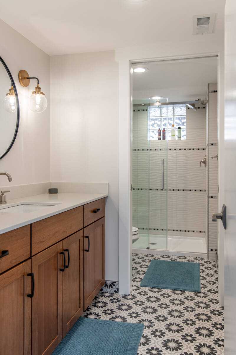 Traditional Bathroom, fun floor tile, Circle mirrors