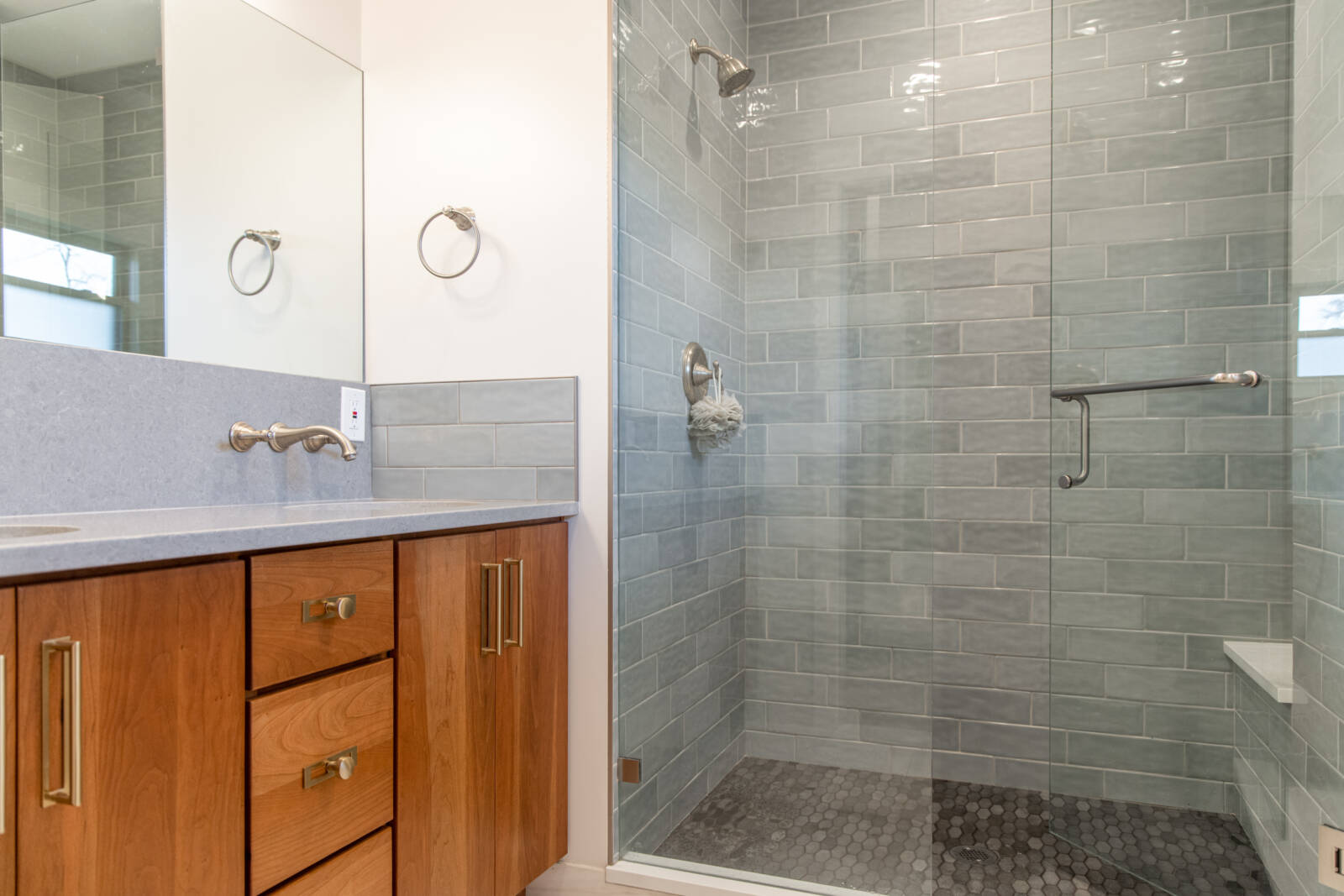 Modern Casual, Bathroom, showers, shower seat