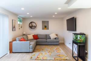 Bungalow, basement living room ideas, modern trditional